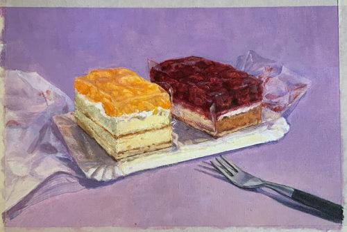 Sylvia Wolf Malwerkstatt Himbeer Mandarinen Kuchen